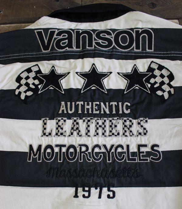 VANSON バンソン NVSS-801 ツイルワークシャツ ボーダー