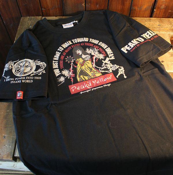 エフ商会 PEAK'D YELLOW(ピークドイエロー) PYT-214 骸骨 Tシャツ ブラック