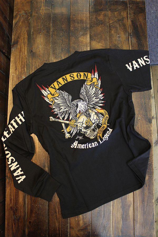 VANSON バンソン NVLT-2114 天竺ロンTee イーグル スカル 刺繍長袖Tシャツ ブラック