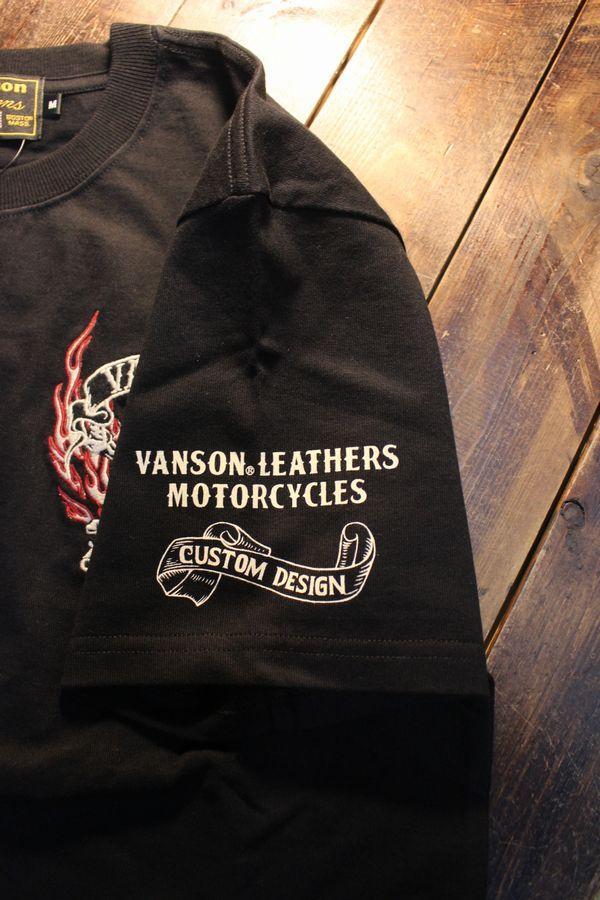 VANSON バンソン NVST-2105 天竺半袖Tee スカル刺繍 コットンTシャツ ブラック