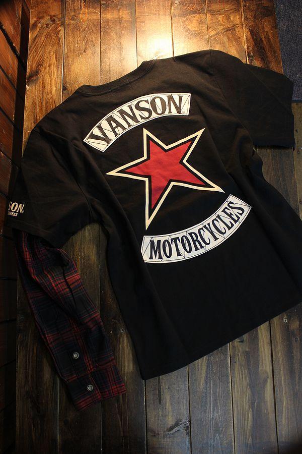 VANSON バンソン NVLT-2104 天竺フェイクロンTee 重ね着風長袖Tシャツ ブラック/レッドチェック