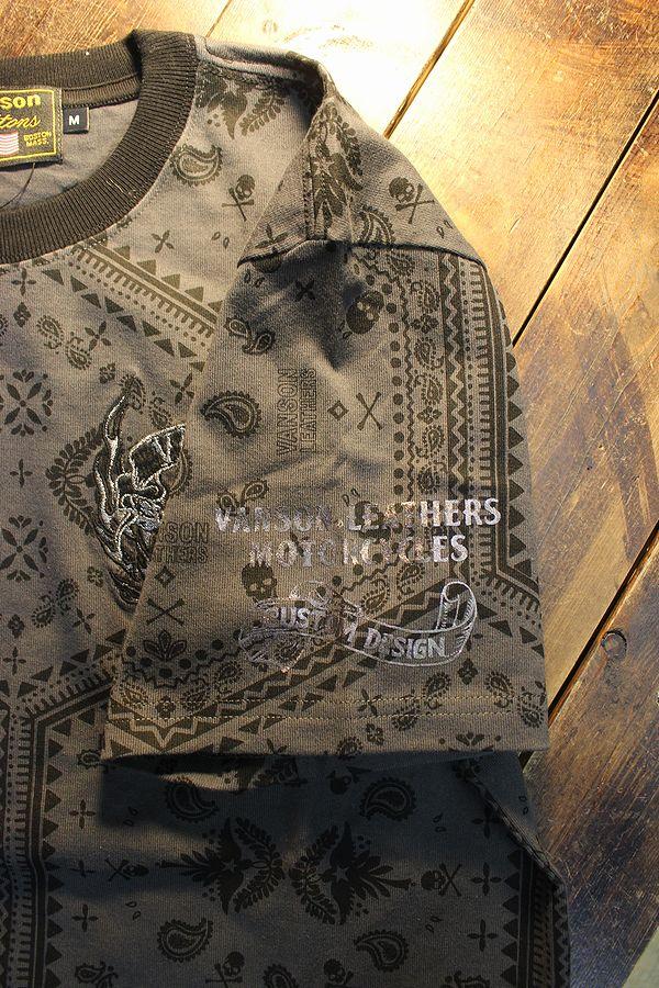 VANSON バンソン NVST-2105 天竺半袖Tee スカル刺繍 コットンTシャツ ペイズリー