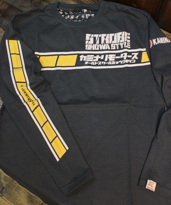エフ商会 カミナリ KMLT-195 STROBE SHOWA STYLE ヤマハ RD400 RD250 長袖Tシャツ ネイビー
