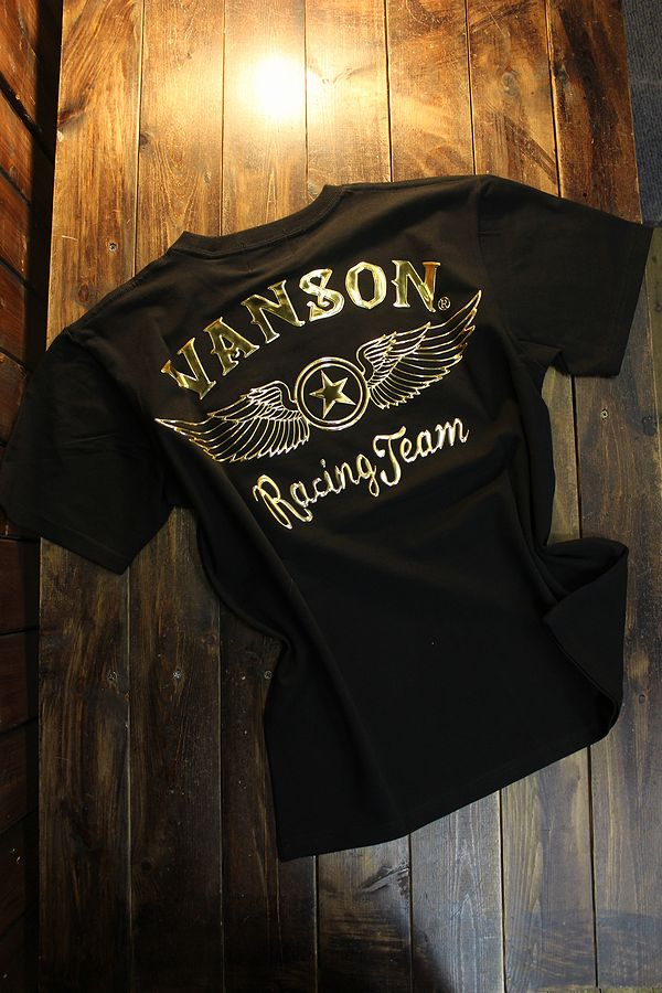 VANSON バンソン NVST-2104 ベア天半袖Tee ウイング エンボスプリント ブラック/ゴールド