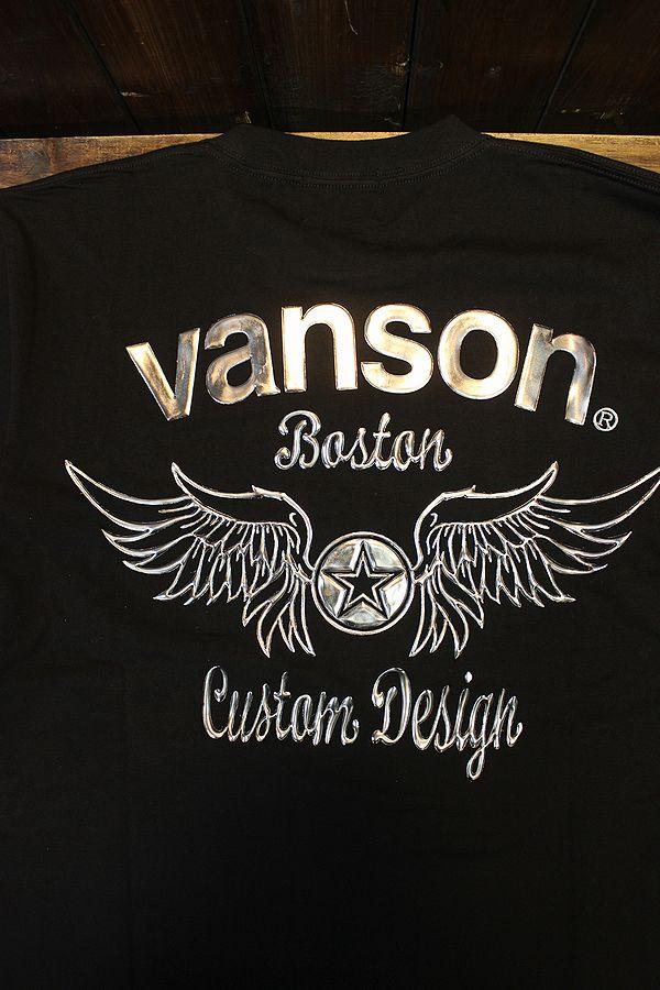 VANSON バンソン NVLT-2124 ベア天ロンTee ウイングスター ブラック/ガンメタル
