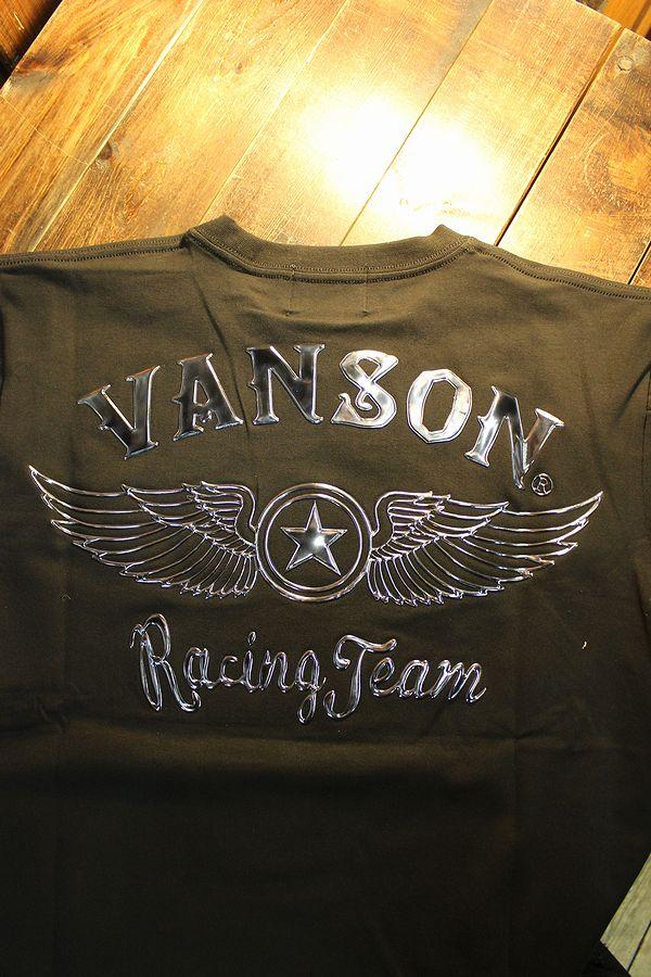VANSON バンソン NVST-2104 ベア天半袖Tee ウイング エンボスプリント ブラック/ガンメタ