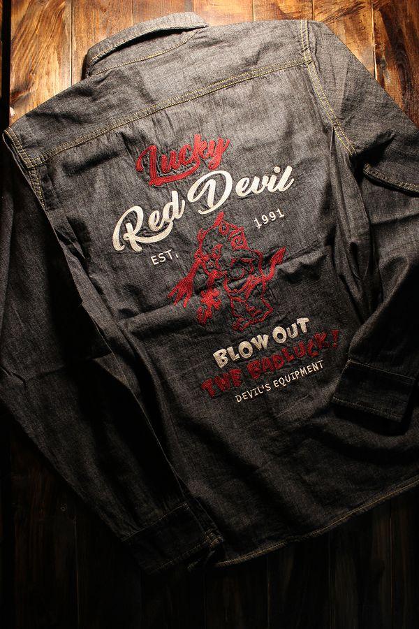 エフ商会 TEDMAN(テッドマン) TSHB-1600 Lucky Red Devil チェーン刺繍仕様 シャンブレーシャツ ブラック