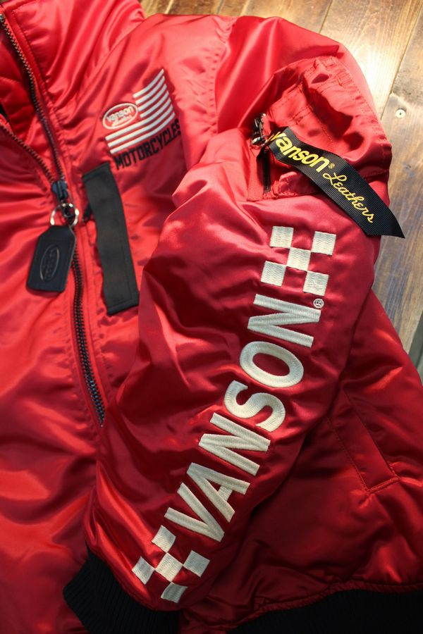 VANSONバンソン NVJK-2003 HI-NECK MA-1 フライトジャケット レッド