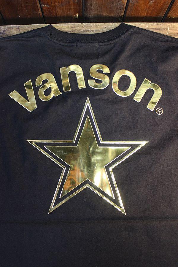 VANSON×LOONEY TUNES バンソン コラボ LTV-2110 天竺半袖Tee ロードランナー エンボスプリント ブラック/ゴールド