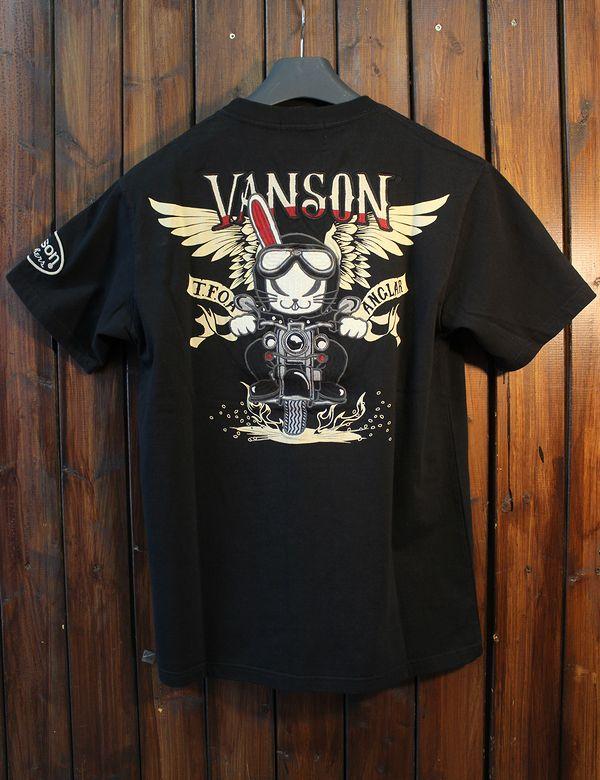 VANSON×CROWS×WORST 武装戦線 コラボ CRV-924 天竺半袖Tee デスラビット ブラック