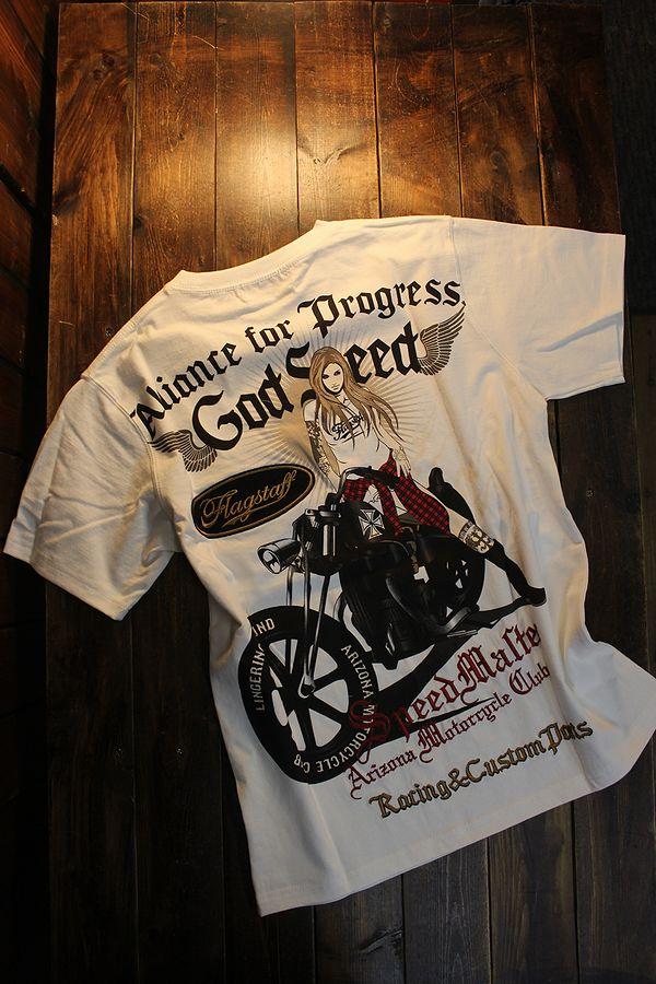 FLAG STAFF フラッグスタッフ 412012 天竺半袖Tee 刺繍Tシャツ アメリカン バイク ホワイト