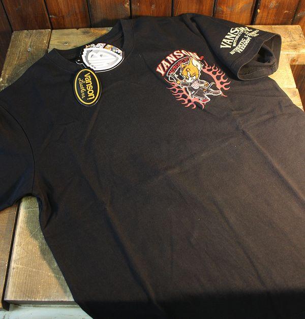 VANSON×Tom and Jerry トムとジェリーコラボ TJV-922 天竺半袖Tee 刺繍Tシャツ ブラック