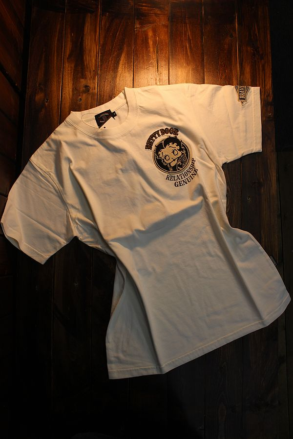 The BRAVE-MAN×BETTY BOOP ベティTシャツ BBB-2007 天竺半袖Tee バイク オフホワイト