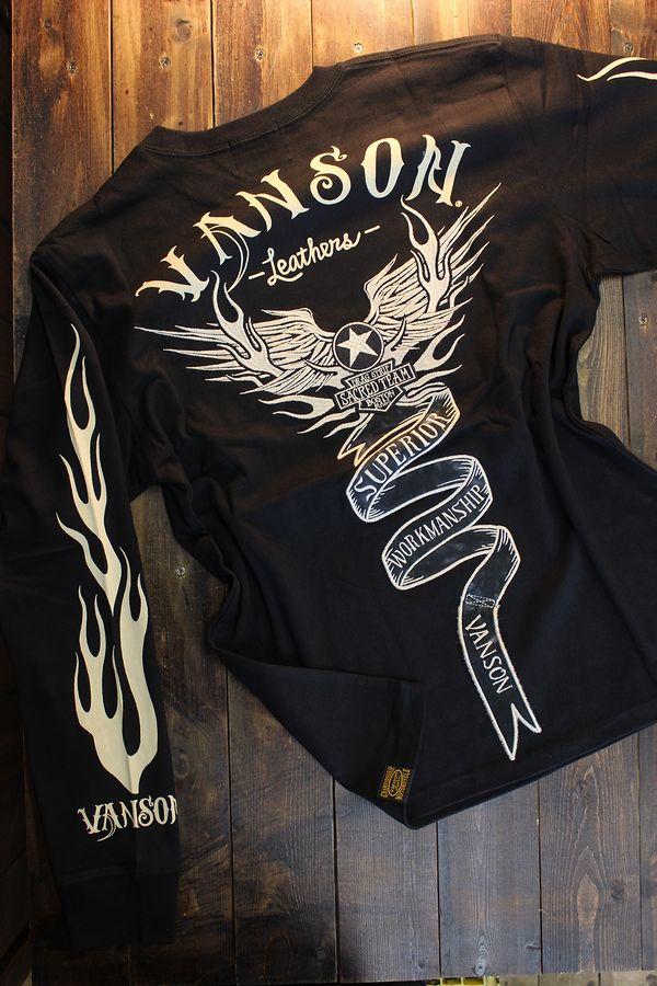VANSON バンソン NVLT-2026 天竺長袖Tee 刺繍ロンTee ウイング ブラック