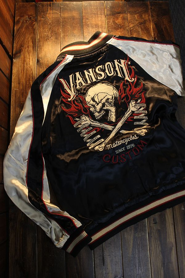 VANSON バンソン NVJK-2101 リバーシブル スカジャン スカル ワンスター 刺繍 ワッペン