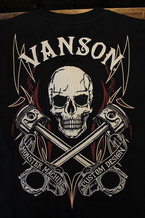 VANSON バンソン NVLT-2119 天竺ロンTEE スカル ピンスト ピストンコンロッド ブラック