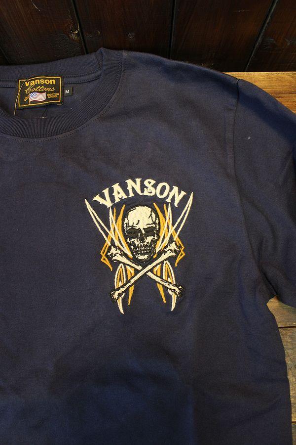 VANSON バンソン NVLT-2119 天竺ロンTEE スカル ピンスト ピストンコンロッド Dネイビー