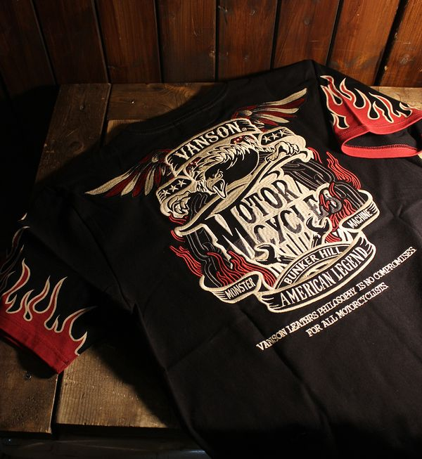 VANSON バンソン NVST-916天竺半袖Tee 刺繍Tシャツ フレアー イーグル ブラック