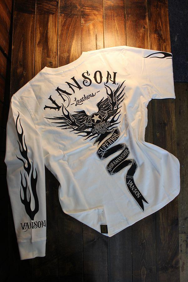 VANSON バンソン NVLT-2026 天竺長袖Tee 刺繍ロンTee ウイング オフホワイト