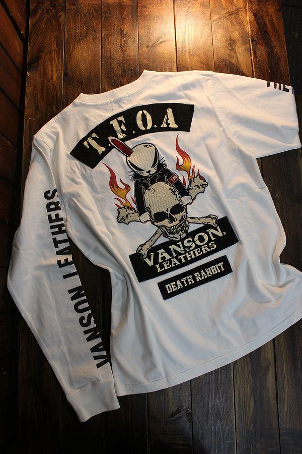 VANSON×CROWS×WORST 武装戦線 コラボ CRV-2103 天竺ロンTee デスラビット 長袖Tシャツ オフホワイト