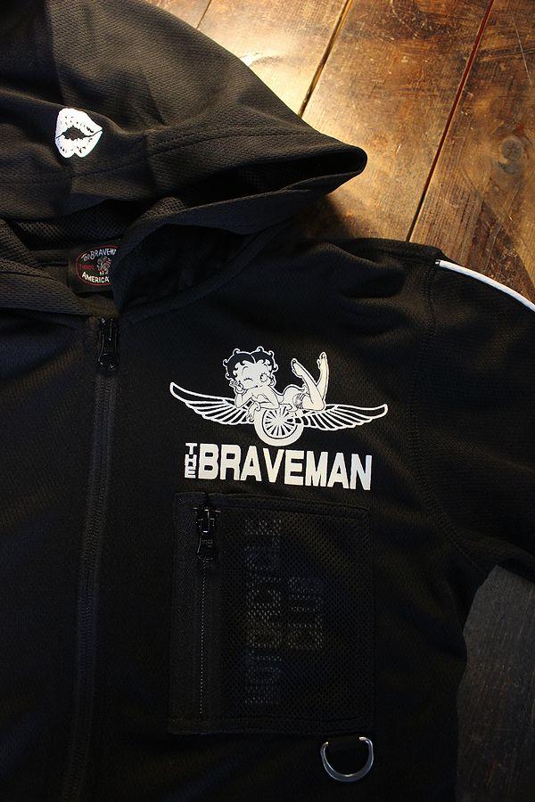 The BRAVE-MAN×BETTY BOOP ベティ BBB-2121 ドライメッシュZipパーカー ブラック