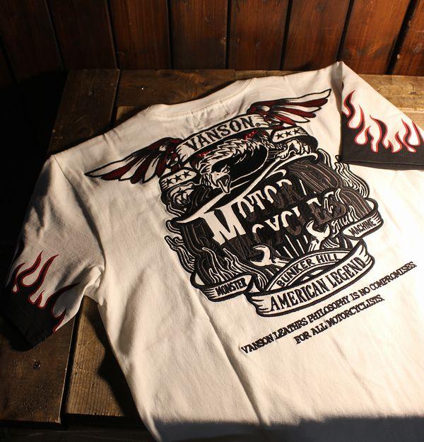 VANSON バンソン NVST-916天竺半袖Tee 刺繍Tシャツ フレアー イーグル オフホワイト