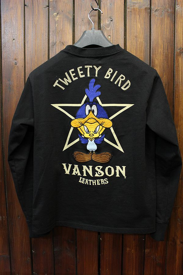 VANSON×LOONEY TUNES バンソン コラボ ポケット付き天竺ロンT 長袖Tee LTV-803