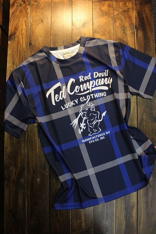 エフ商会 TEDMAN テッドマン TDRYT-900 チェックドライTシャツ ネイビー