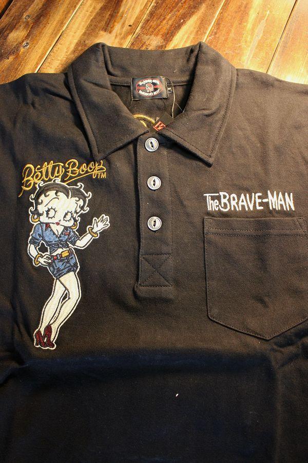 The BRAVE-MAN×BETTY BOOP ベティポロシャツ BBB-2016 天竺半袖ポロ ブラック