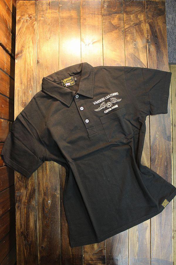 VANSON バンソン NVOS-2010 天竺半袖ポロシャツ ウイングスター ブラック