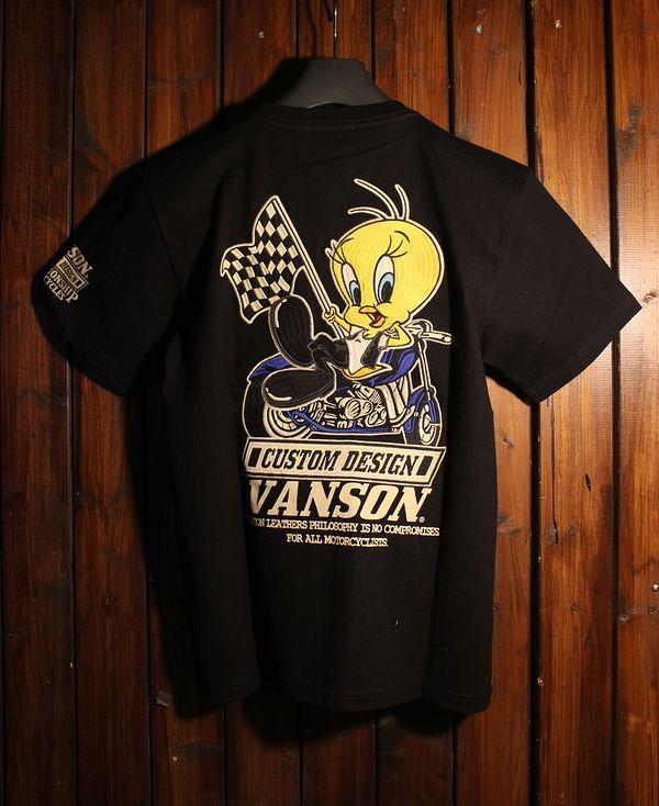VANSON×LOONEY TUNES バンソン コラボ 半袖Tシャツ LTV-921 天竺半袖TEE トゥイティー ブラック