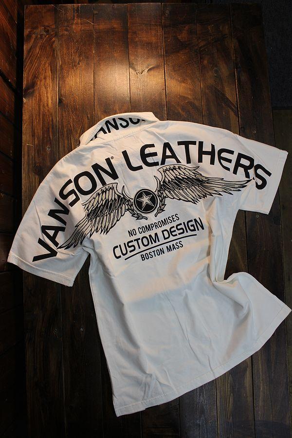 VANSON バンソン NVOS-2010 天竺半袖ポロシャツ ウイングスター オフホワイト