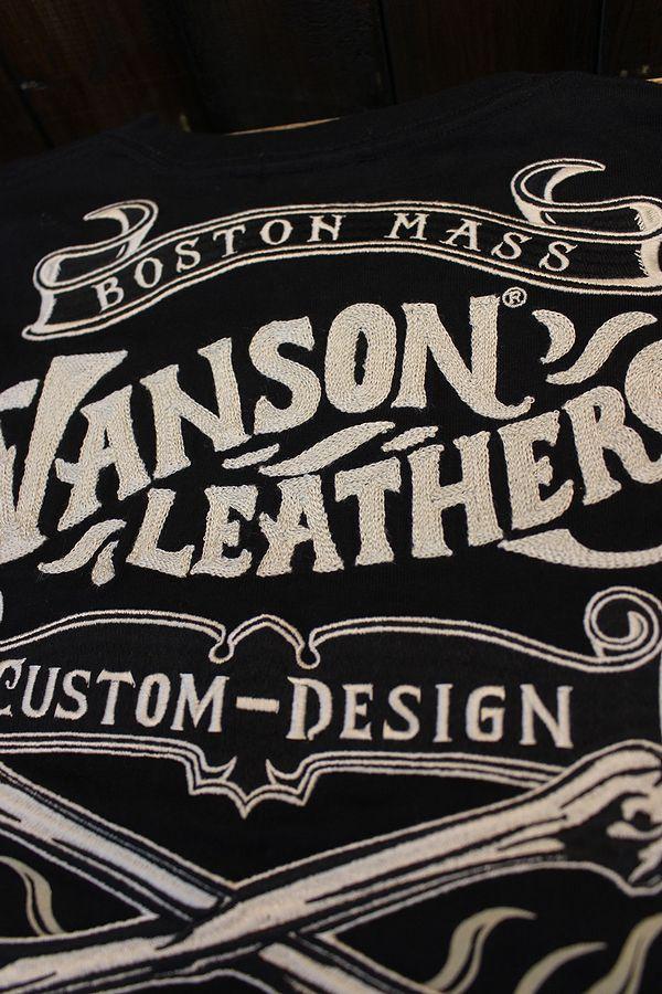 VANSON バンソン NVLT-2120 NVLT-2116 天竺ロンTee 刺繍 ブラック