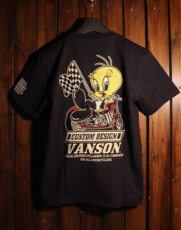 VANSON×LOONEY TUNES バンソン コラボ 半袖Tシャツ LTV-921 天竺半袖TEE トゥイティー ネイビー ブラック
