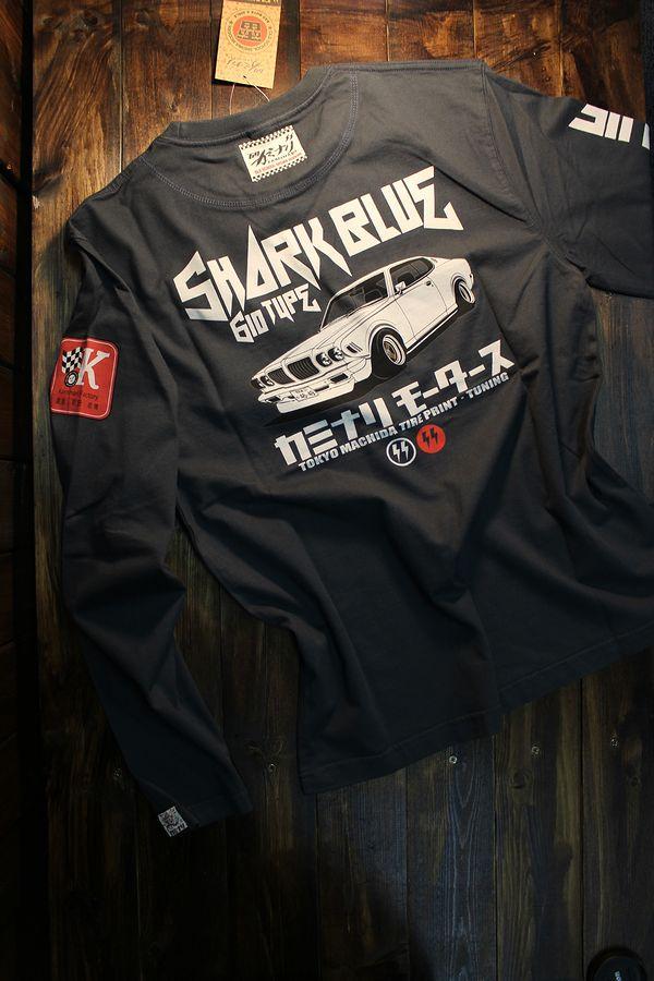 エフ商会 カミナリ KMLT-192 サメブル 610 ブルーバード G6 長袖Tシャツ ネイビー