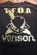 VANSON×CROWS×WORST 武装戦線 コラボ CRV-2018 天竺半袖Tee エンボス加工 デスラビット ブラック/ゴールド
