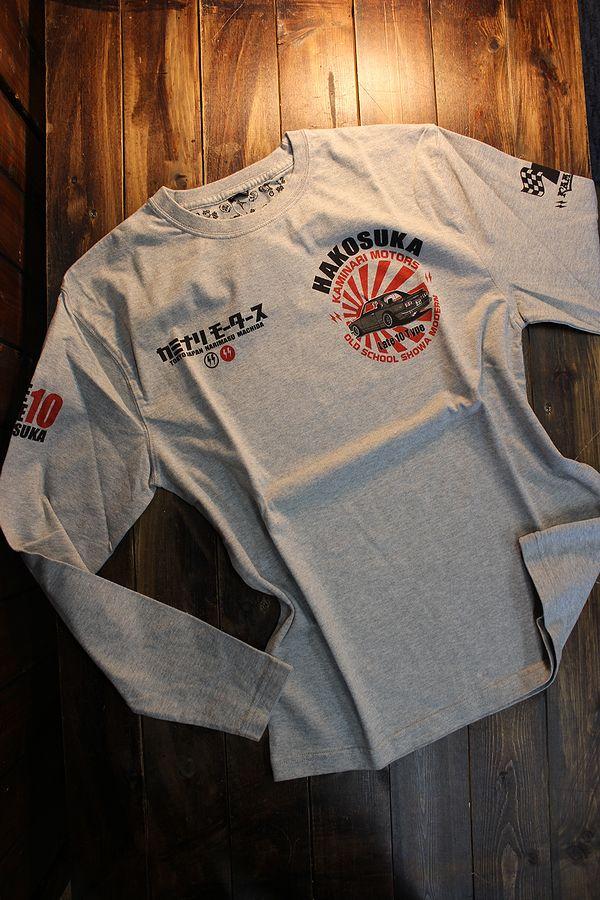 エフ商会 カミナリ KMLT-214 ハコスカGTR 長袖Tシャツ ロンTee アッシュ