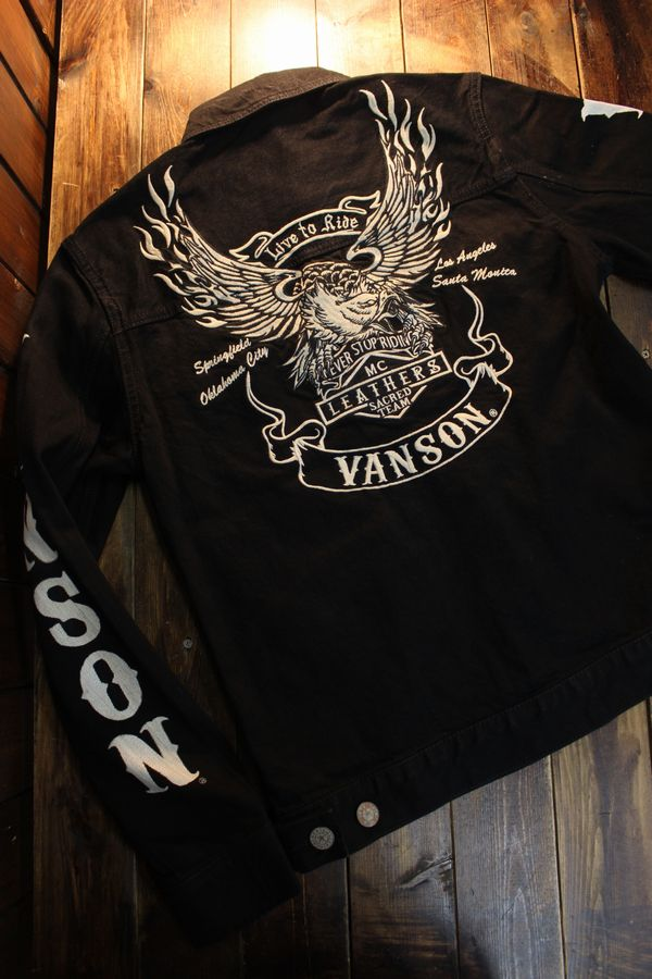 VANSON バンソン  NVSL-2102 Gジャン ブラック(ワンウォッシュ)