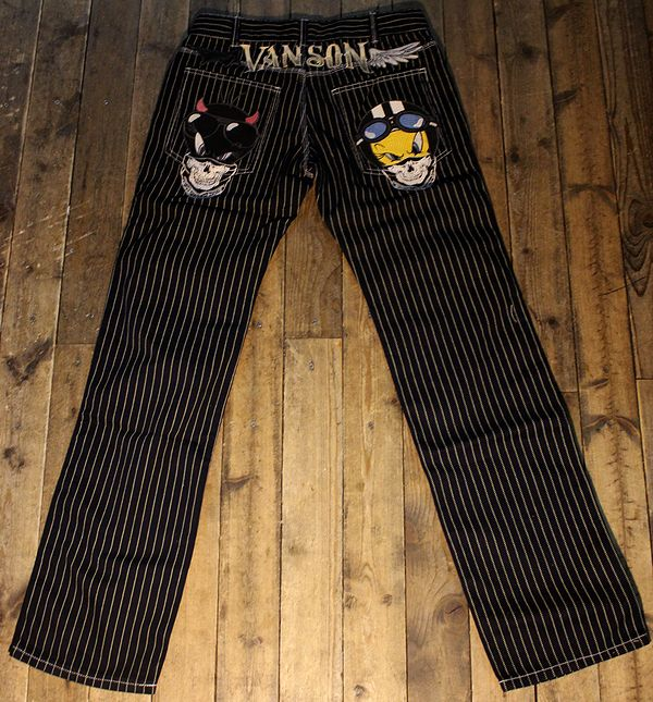 VANSON×Looney Tunes バンソン×ルニーテューンズ トゥイーティ刺繍デニム パンツ LTV-832