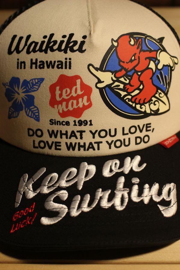 エフ商会 TEDMAN(テッドマン) TDC-7600 Keep on Surfing メッシュキャップ ブラック/オフホワイト