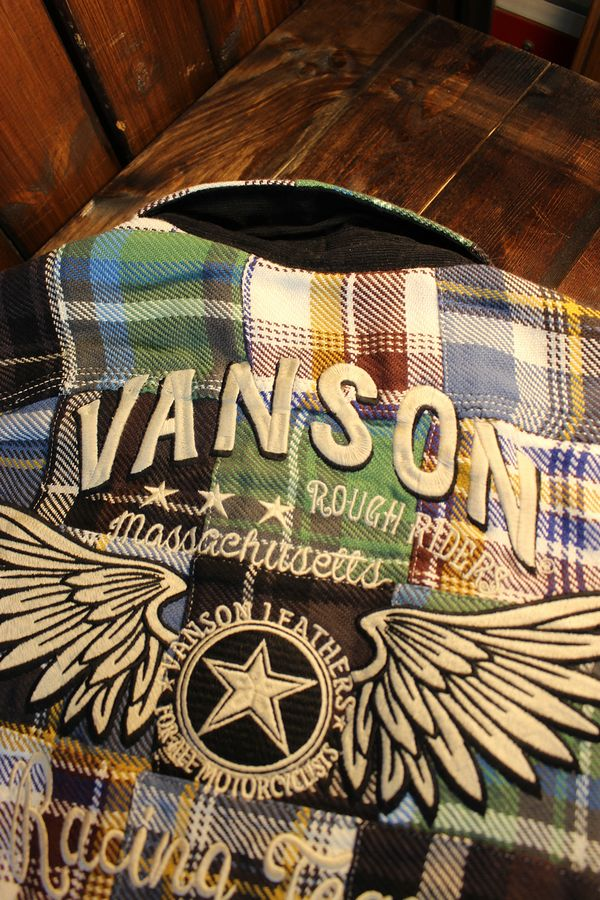 VANSON(バンソン) NVSL-908 ヘビーネルチェックシャツ  ブルー/グリーン系 パッチワーク