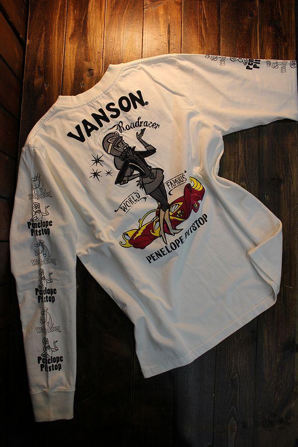 VANSON×Wacky Races チキチキマシーンモーレース WRV-2016 天竺ロンTee  ミルクちゃん 長袖Tシャツ オフホワイト