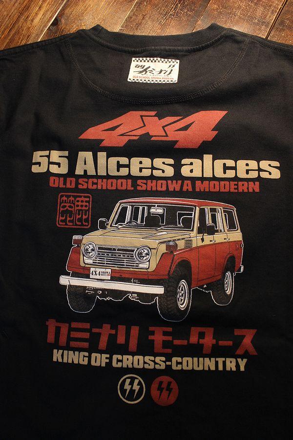 エフ商会 カミナリ KMT-219 Alces alces ヘラジカ ランクル55 コットン Tシャツ ブラック