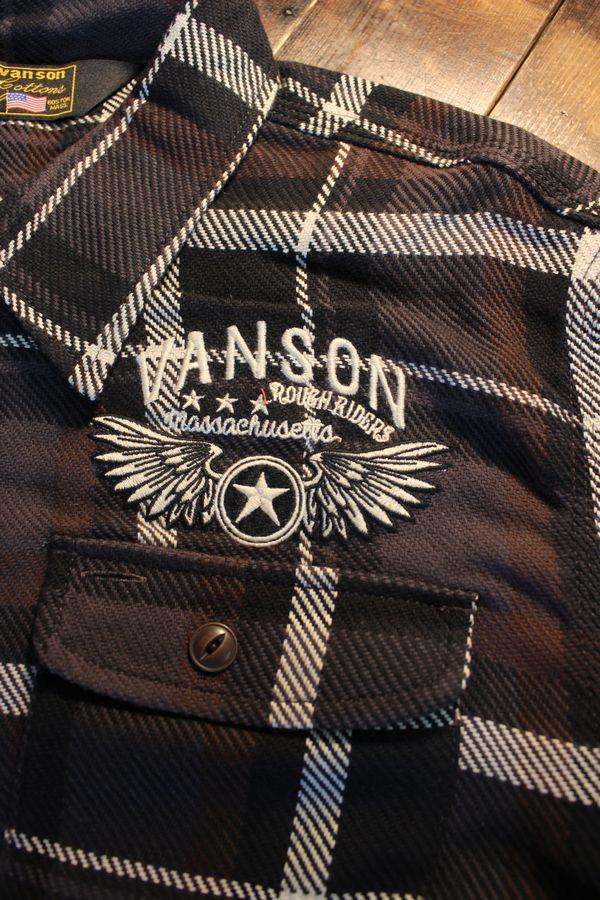 VANSON(バンソン) NVSL-908 ヘビーネルチェックシャツ  チャコール(パッチワーク無し)