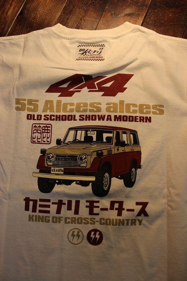 エフ商会 カミナリ KMT-219 Alces alces ヘラジカ ランクル55 コットン Tシャツ オフホワイト