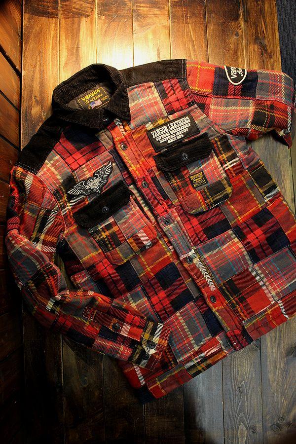 VANSON(バンソン) NVSL-2009 CPOシャツ ジャケット パッチワーク レッド チェック