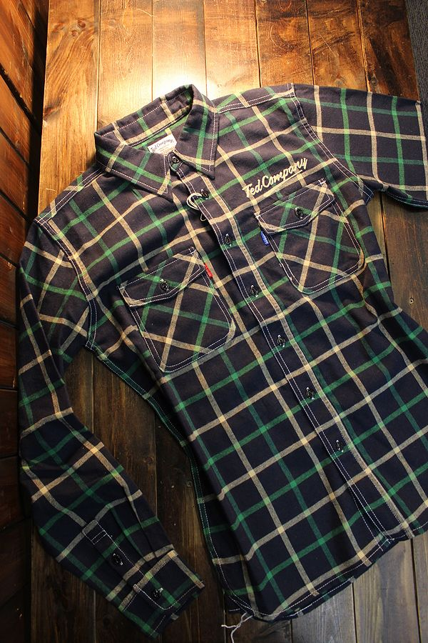 エフ商会 TEDMAN(テッドマン) TNS-700 TEDMANネルシャツ NAVY/GREEN