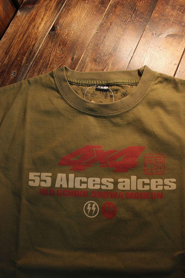 エフ商会 カミナリ KMT-219 Alces alces ヘラジカ ランクル55 コットン Tシャツ カーキ