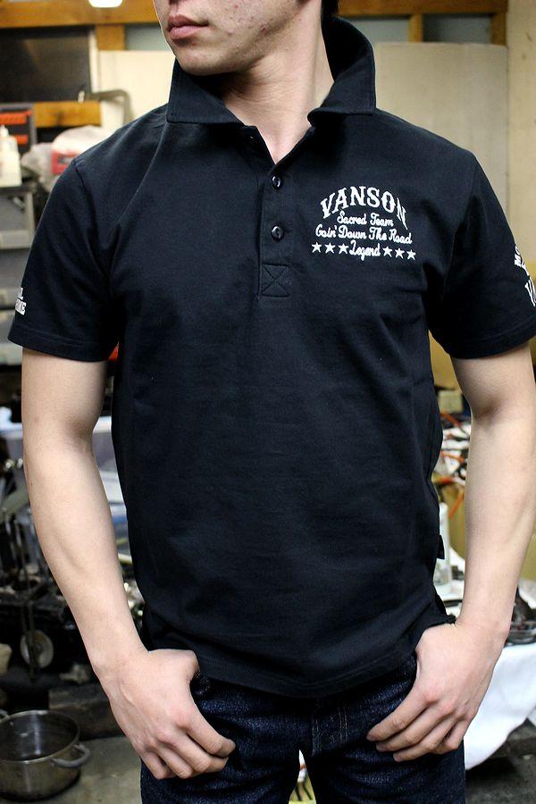 バンソン VANSON NVPS-707 天竺半袖ポロシャツ スカル ドクロ ブラック