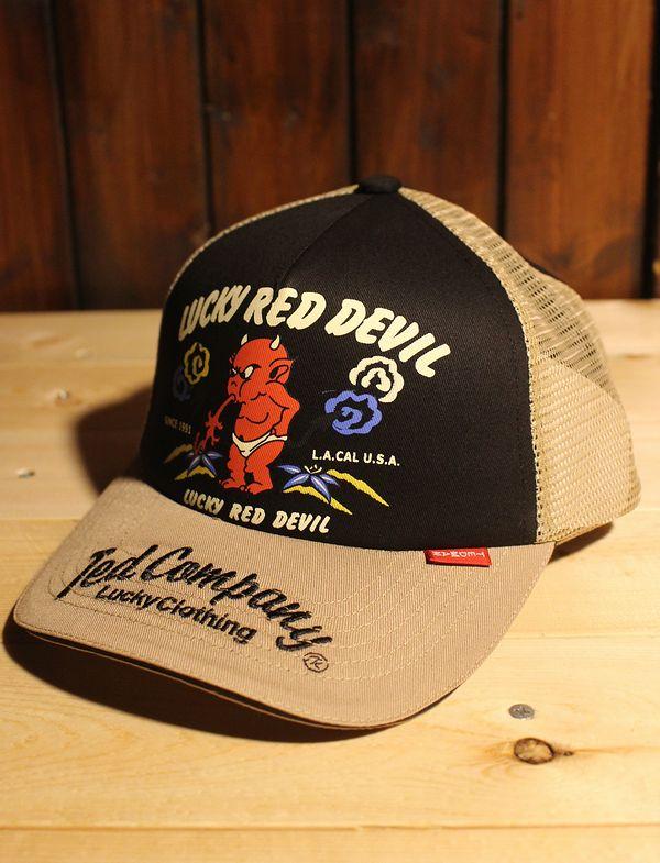 エフ商会 TEDMAN(テッドマン) TDC-7800 Lucky Red Devil メッシュキャップ BEIGE/BLACK/
